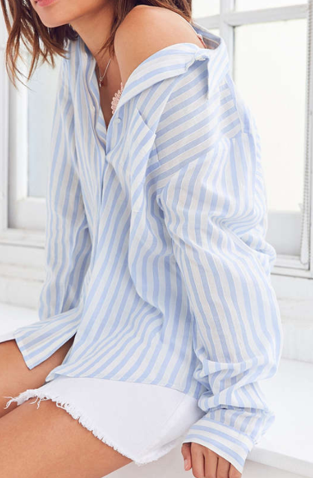 Silence + Noise Olivia Striped Button-Down Shirt