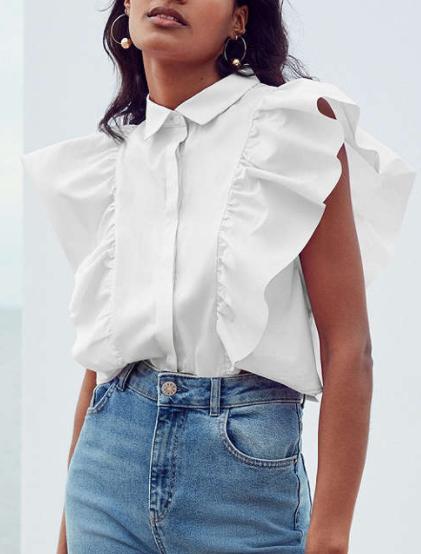 Kimchi Blue Kelsey Ruffle Button-Down Shirt