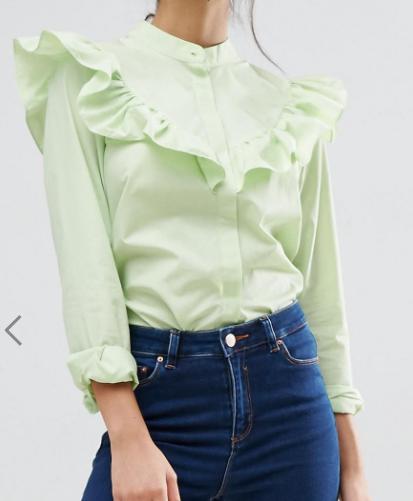 ASOS Ruffle Shirt in Cotton