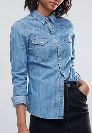 ASOS Denim Fitted Shirt in Mid Wash Blue
