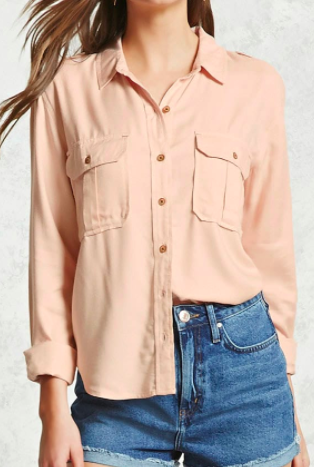 FOREVER 21 Utility Button-Down Shirt