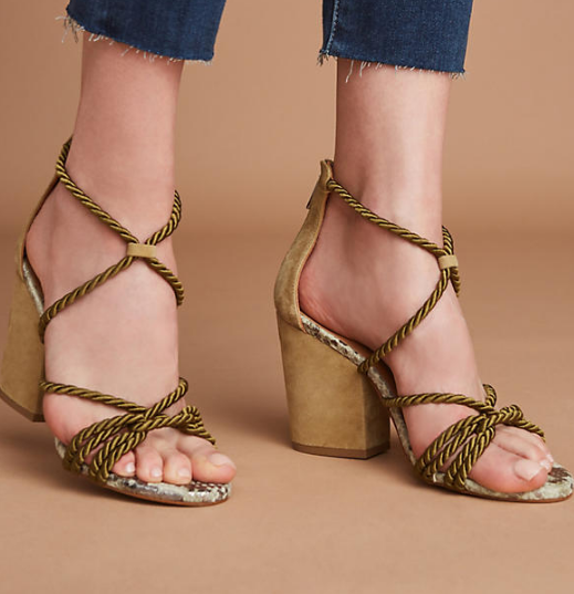Elysess Rope Lace-Up Heeled Sandals