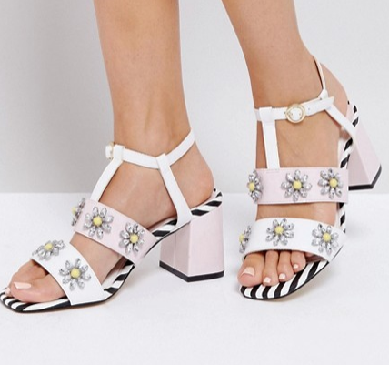 River Island Flower Applique Block Heel Sandals