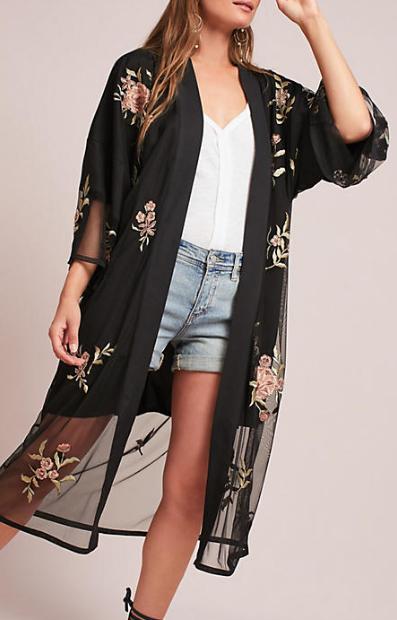 Anthropologie Fiore Embellished Kimono