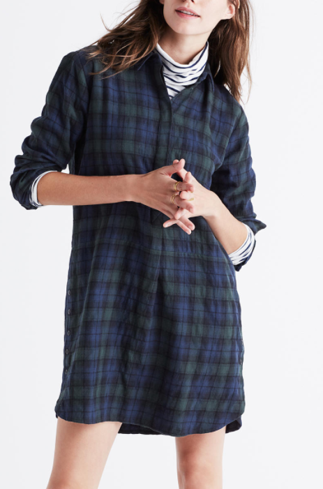 flannel side-button shirtdress in dark plaid