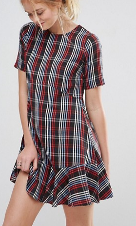 ASOS Drop Waist Dress in Check