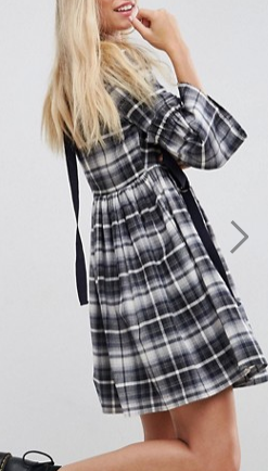 ASOS Check Smock Dress with Grosgrain Detail