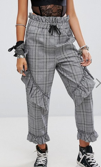 Sacred Hawk High Waisted Pants In Check With Frills