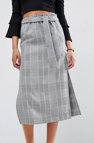 ASOS Check Paperbag Column Skirt