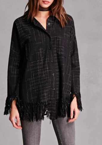 Frayed Plaid Flannel Shirt