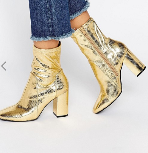 River Island Gold Metallic Sock Boot