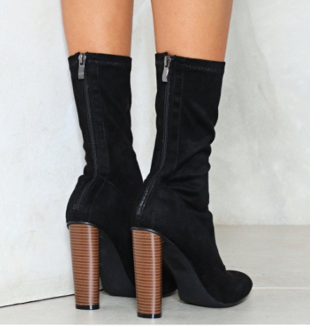Nasty Gal Sit Tight Vegan Suede Sock Boot