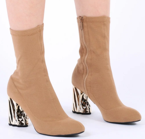 NOVA CRUSHED METAL HEEL SOCK FIT BOOTS IN CAMEL