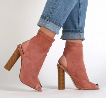 ALIAH CUT OUT STACKED HEEL STRETCH ANKLE BOOTS IN ROSE PINK FAUX SUEDE