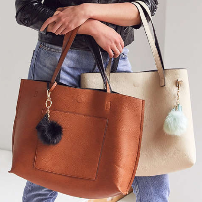 UO Reversible Pompom Tote Bag