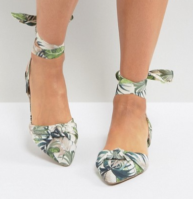 New Look Palm Print Lace Up Pointed Flat Shoes