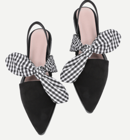 Gingham Bow Tie Decorated Pointed Toe Flats