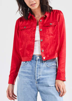 UO Cropped Satin Trucker JacketUO Cropped Satin Trucker Jacket