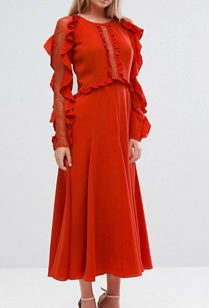 Three Floor Long Sleeved Midi Dress With Frill Detail