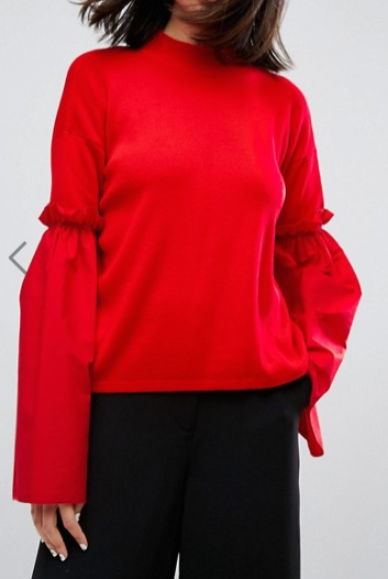 ASOS Sweater With Fabric Flared Sleeves