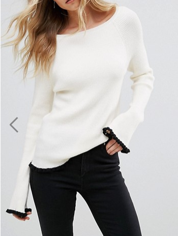 Vero Moda Long Sleeve Contrast Knitted Top
