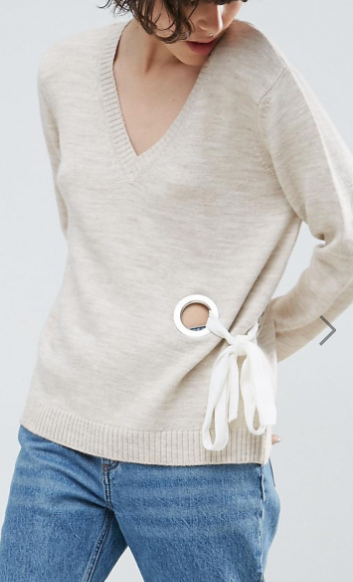 ASOS Sweater with V Neck and Eyelet Detail