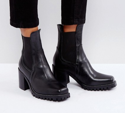 River Island Cleated Sole Heeled Leather Boots