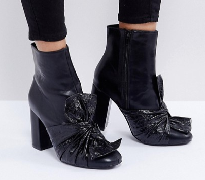 Lost Ink Black Bow Heeled Ankle Boots