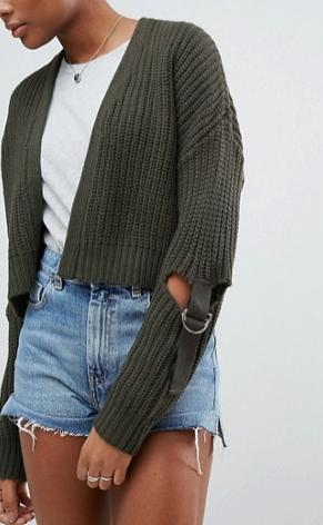 ASOS Cardigan in Crop with Tie Sides