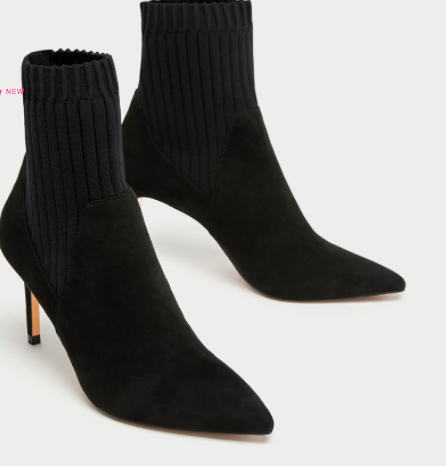 Zara COMBINED HIGH HEEL SOCK-STYLE ANKLE BOOTS