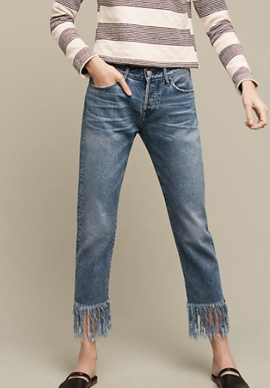 3x1 NYC WM3 High-Rise Straight Cropped Fringe Jeans