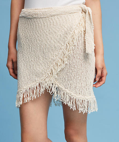 Callahan Fringed Wrap Mini Skirt