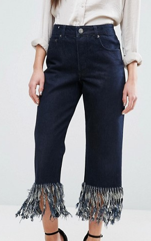ASOS PETITE Authentic Straight Leg Jeans in James Wash with Fringe Hem