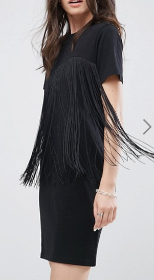 ASOS Mini T-Shirt Dress with Fringing