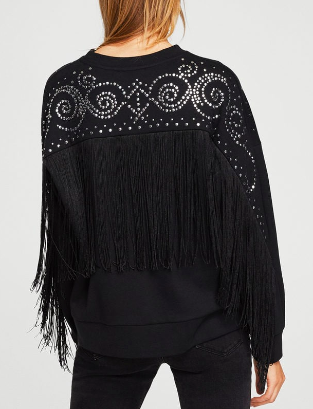 Mango Studded fringed sweater