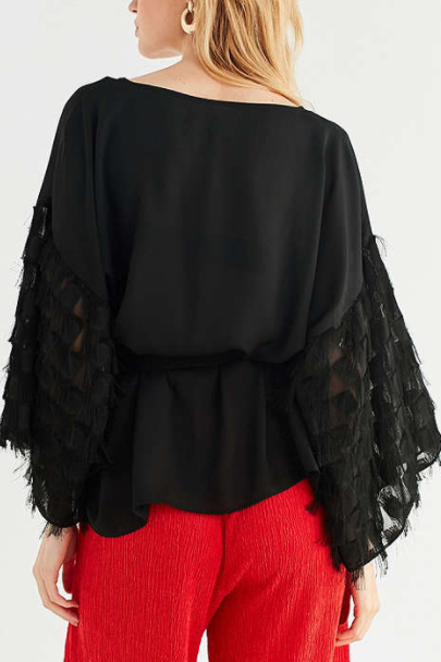 Jovonna London Bacari Checkered Fringe Top