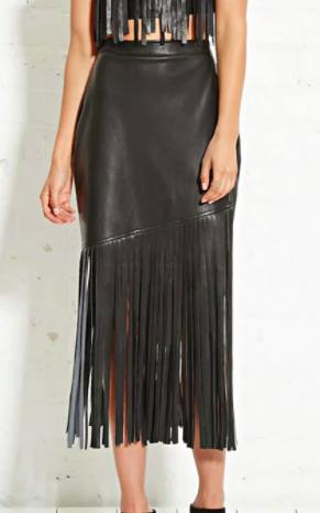 Nightwalker Faux Leather Fringe Skirt