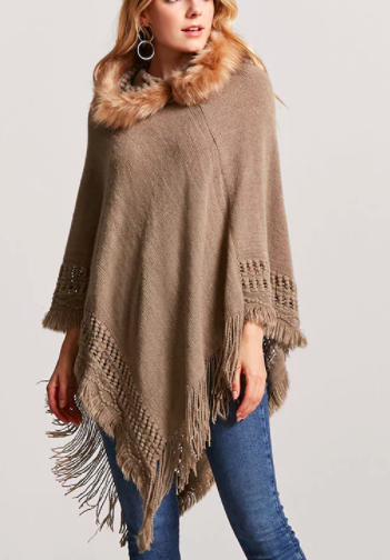 Forever 21 Faux Fur Hooded Poncho Sweater
