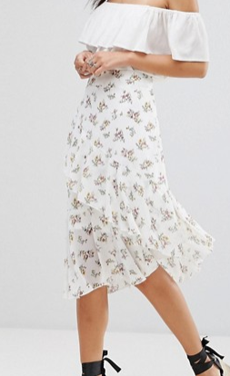 Boohoo Floral Asymmetric Hem Skirt