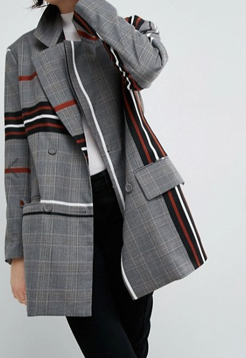 ASOS WHITE Extreme Shoulder Jacket In Stripe Heritage Check