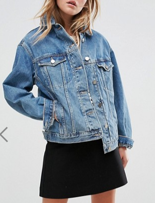 ASOS Denim Girlfriend Jacket in Midwash Blue