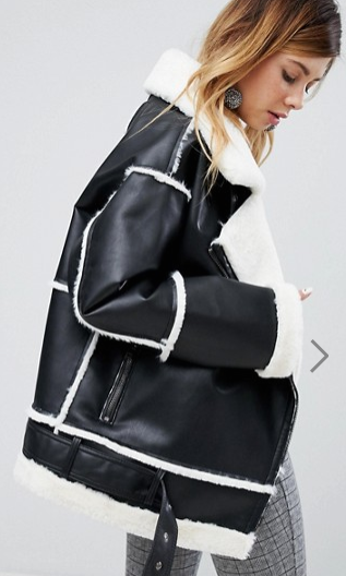 Monki Faux Leather Shearling Biker Jacket