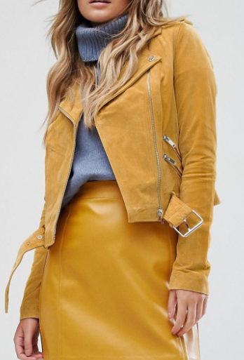 River Island Real Suede Zip Detail Biker Jacket