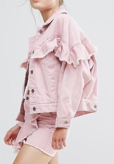 Pull&Bear Pink Denim Frill Jacket