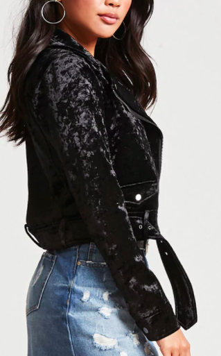 FOREVER 21 Crushed Velvet Moto Jacket