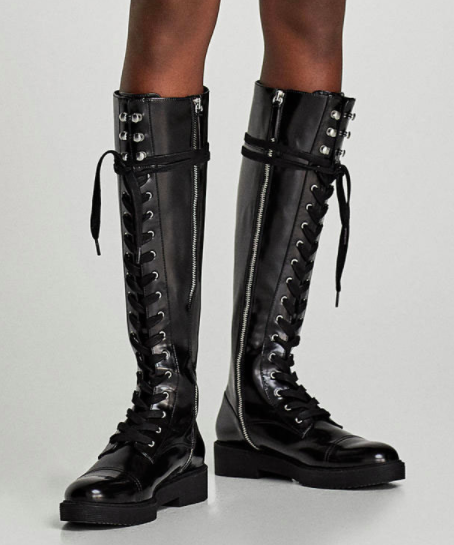 LACE-UP FLAT OVER THE KNEE BOOTS
