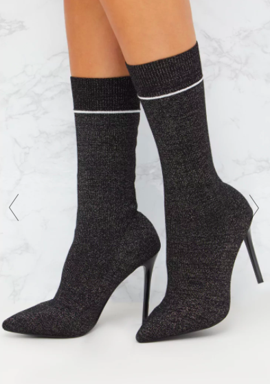 BLACK GLITTER SPORTS STRIPE SOCK BOOT