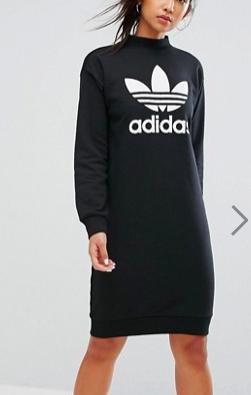 adidas Originals Trefoil Crew Neck Dress In Black
