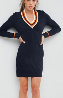 ASOS Knitted Dress with V Neck and Tipping