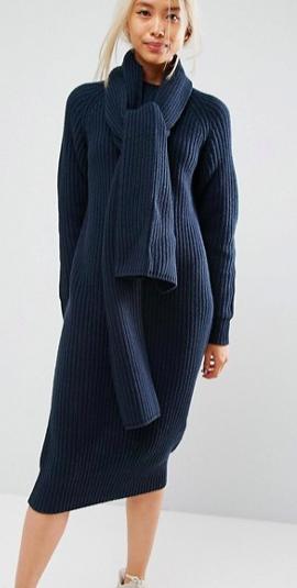 ASOS WHITE Chunky Knit Midi Dress With Scarf Tie Detail